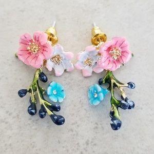 Jewelry - Artisan Cloisonne Flower Drop Earrings